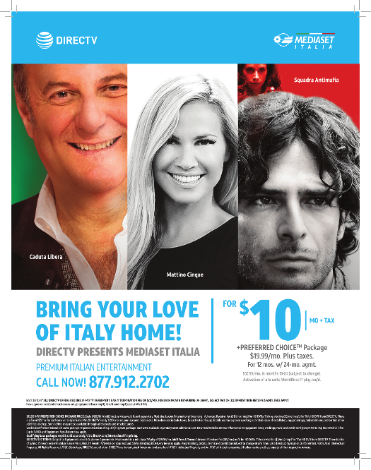 direct tv Orlando FL Italian Package as advertise in Mondo Italiano Magazine of Florida