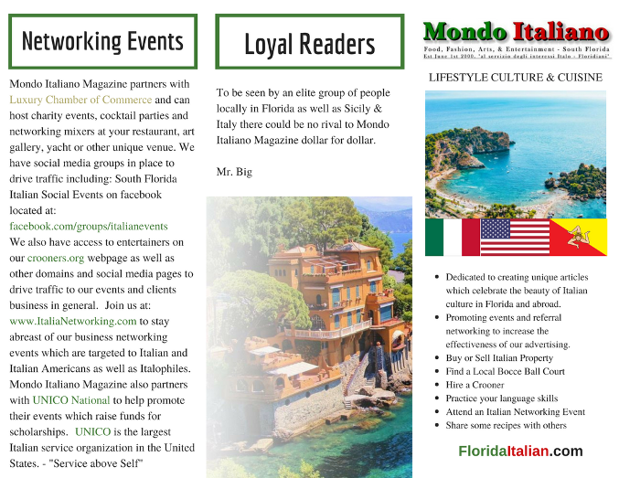 Lifestyle Magazine - Award Winning Media Kit - Mondo Italiano Magazine FL