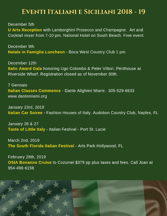 Italian events in Florida December 2018
