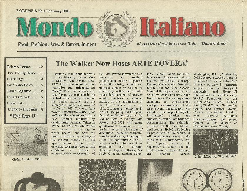 Mondo Italiano - Feb 2001 Walker Art Center hosts Arte Povera with Princess Contini of Italy