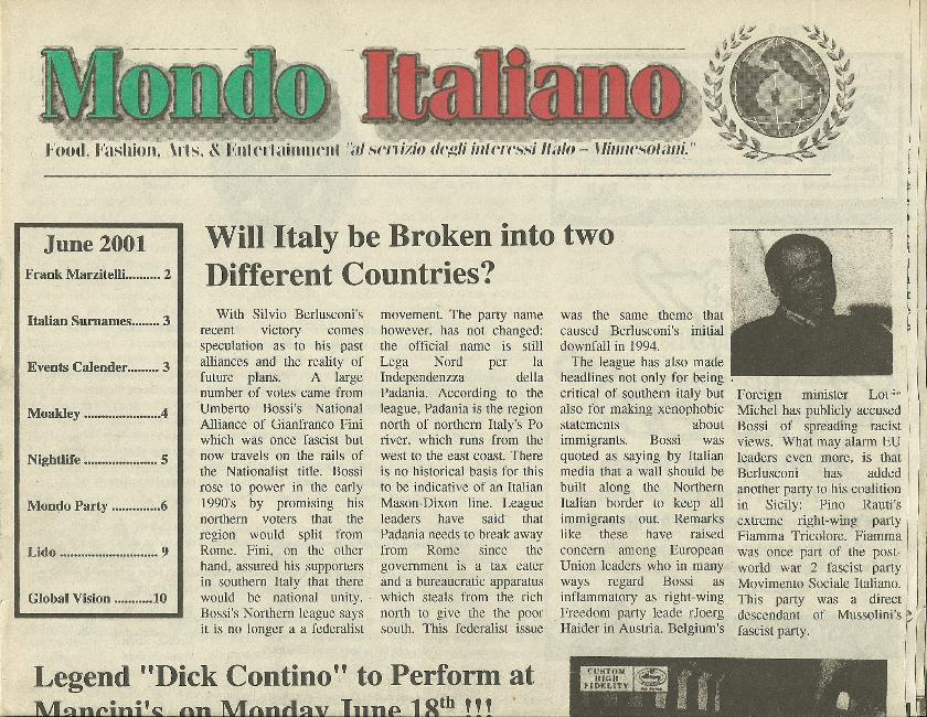 Mondo Italiano June 2001 Edition Dick Contino visits Mancini's Char House