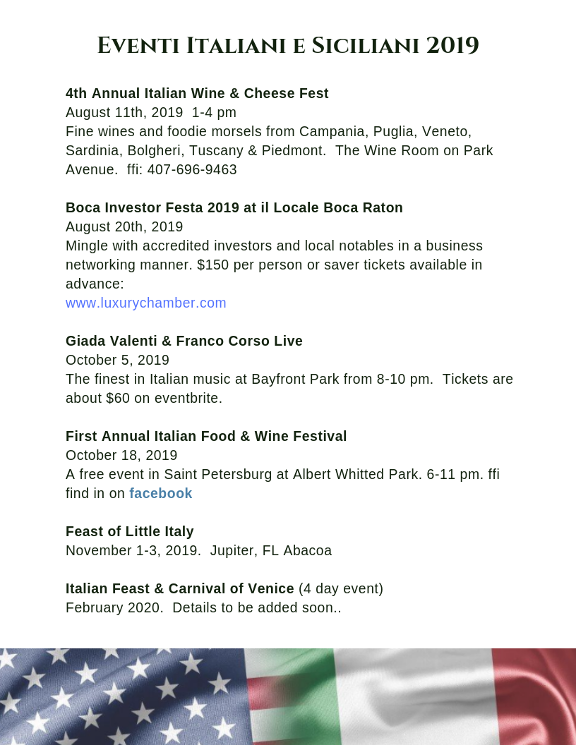 Italian events in Florida August 2019 and upcoming events in 2020