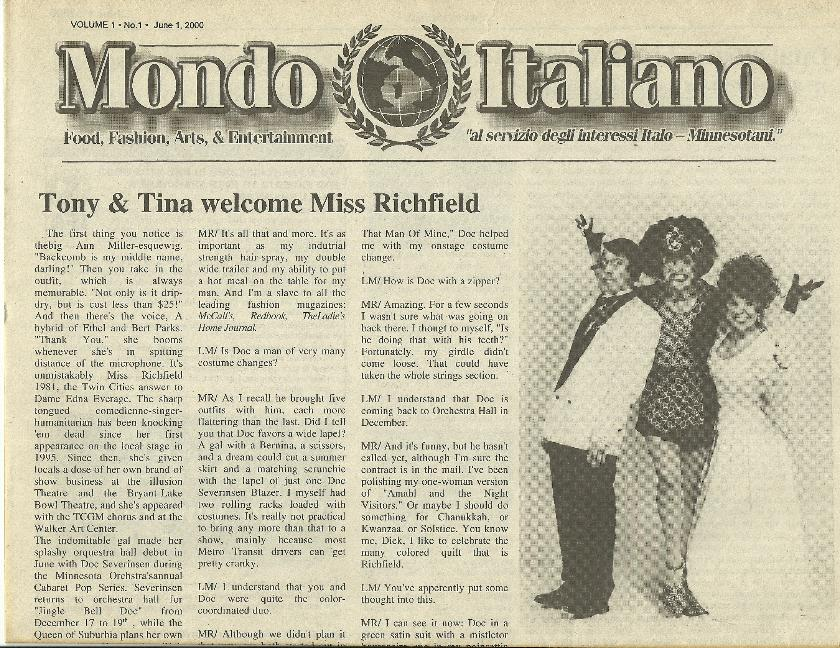 Mondo Italiano June 1st 2001 Premiere Edition with Tony & Tina Miss Richfield