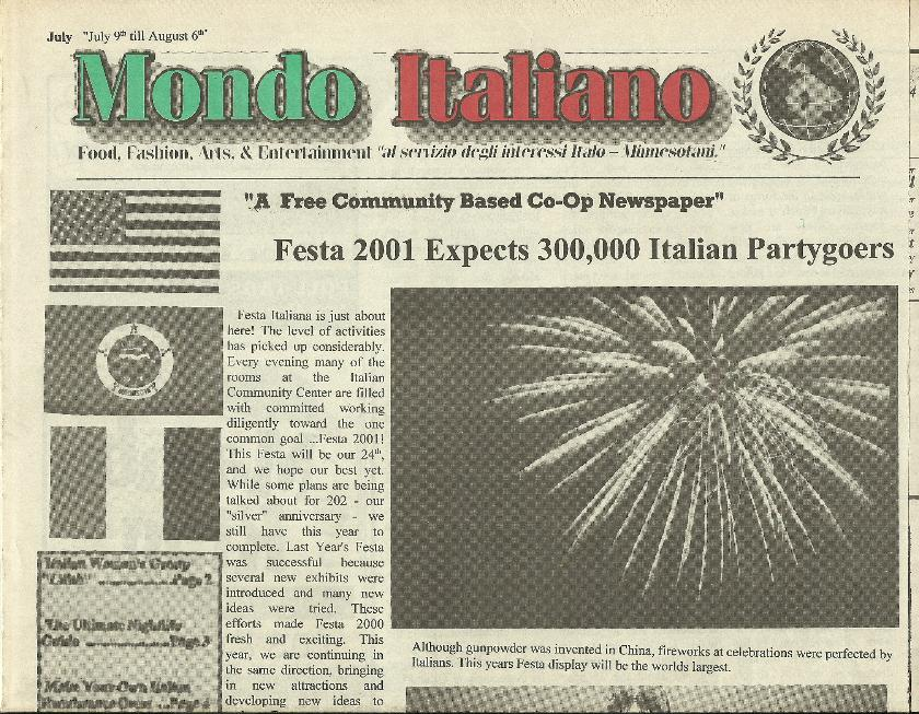 Mondo Italiano Newspaper - July 2001 Festa Italiana