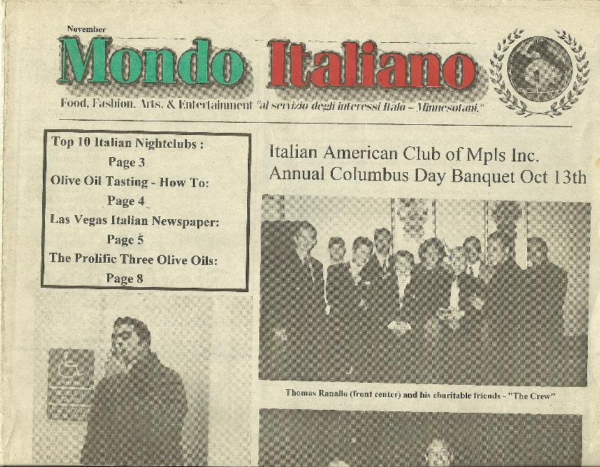 Mondo Italiano November 2001 Copy Italian-American Club of Minneapolis